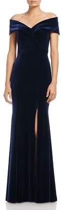 Aqua Off-the-Shoulder Fluted Velvet Gown - 100% Exclusive