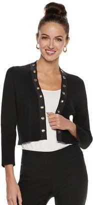 Women's Nina Leonard Grommet-Trim Crop Bolero Jacket