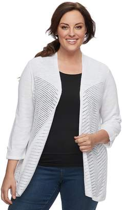 Croft & Barrow Plus Size Open-Stitch Cardigan