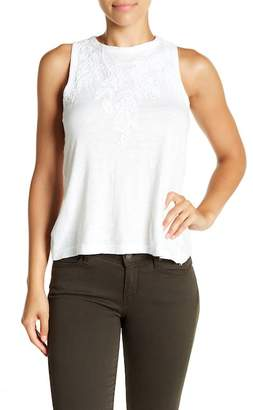 Lucky Brand Leaf Embroidered Tank