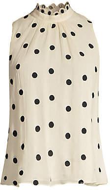 Rebecca Taylor Women's Embroidered Polka Dot Silk Chiffon Blouse