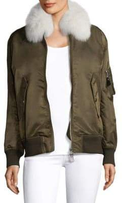 Yves Salomon Army by Fox Fur Trimmed Nylon Bomber Jacket