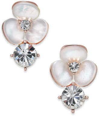 Kate Spade Rose Gold-Tone Flower Mother-of-Pearl Crystal Stud Earrings
