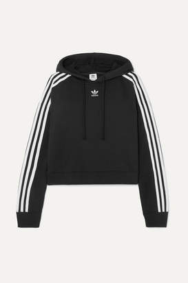 adidas Cropped Striped Cotton-jersey Hoodie