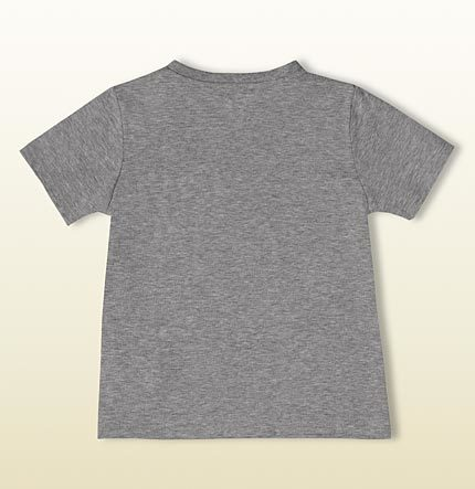 Gucci short sleeve v-neck t-shirt with printed web and interlocking G patch.