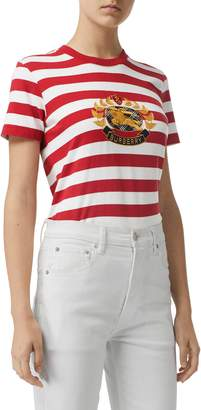 Burberry Bulkley Embroidered Crest Stripe Tee