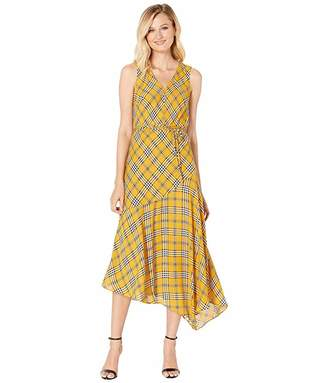 Vince Camuto Sleeveless V-Neck Highland Plaid Belted Dress
