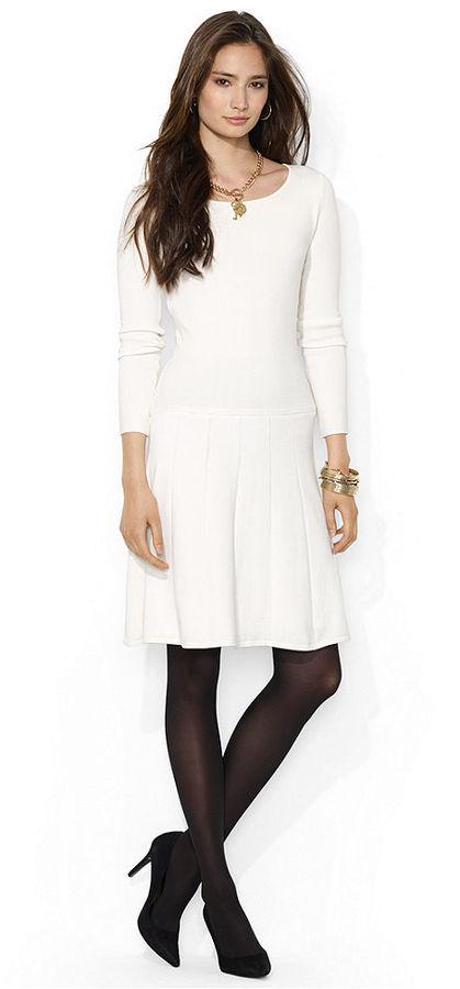 Lauren Ralph Lauren Long-Sleeve A-Line Drop-Waist Dress
