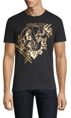 Versace Cotton-Blend Gold Foil T-Shirt