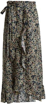 Etoile Isabel Marant Alda abstract-print linen wrap skirt