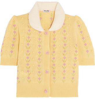 Miu Miu - Pointelle-trimmed Cashmere Cardigan - Pastel yellow