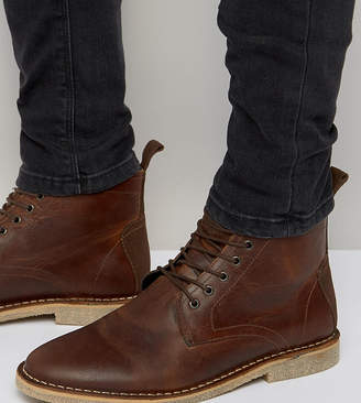 Asos Design DESIGN Wide Fit desert boots in tan leather with suede detail
