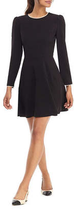 Gal Meets Glam Long-Sleeve Box Weave Crepe Fit-&-Flare Dress w/ Pearly Trim