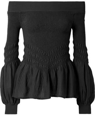 Jonathan Simkhai Off-the-shoulder Smocked Stretch Cotton-blend Top - Black