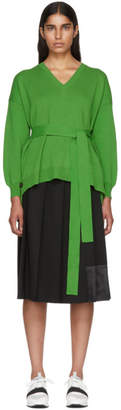 Enfold Green Milano Open Side Belted Sweater