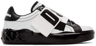 Dolce & Gabbana White and Black Elastic Logo Sneakers