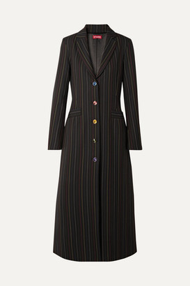 STAUD Beatrice Striped Crepe Coat - Black