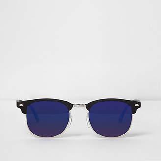 River Island Mens Black half frame retro blue mirror sunglasses