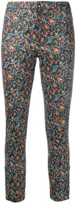 foliage print skinny trousers