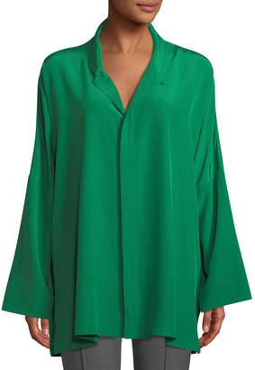 eskandar Spread-Collar Long-Sleeve Silk Imperial Shirt