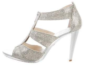MICHAEL Michael Kors Sequin Zip Sandals Silver Sequin Zip Sandals