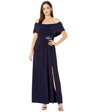 Alex Evenings Long Cowl Neck A-Line Dress with Beaded Detail at Waist