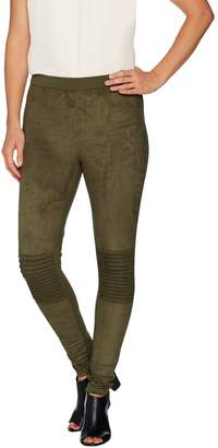 "Halston H By As is"" H by Regular Faux Suede Motorcycle Detail Leggings"