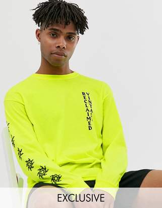 Reclaimed Vintage neon sun logo t-shirt in long sleeve