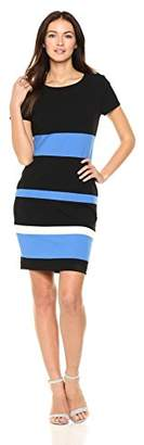 Tommy Hilfiger Women's Scuba Crepe Stripe Cap Sleeve Sheath