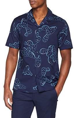 Antony Morato Men''s Camicia Mezza Manica BOTTONE CON PASSANTINO AL COLLO + SPACCHETTI Casual Shirt, (Navy Blu), Medium