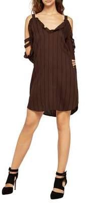 BCBGeneration Striped Cold-Shoulder Shirt Dress