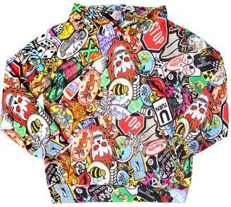 Moschino Tattoo Print Hooded Cotton Sweatshirt