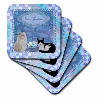3dRose Kitty Cats with Easter Basket of Eggs on Musical Sheet Background, Blue - Ceramic Tile Coasters, set of 4