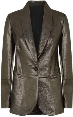 Brunello Cucinelli Crackled Metallic Leather Blazer