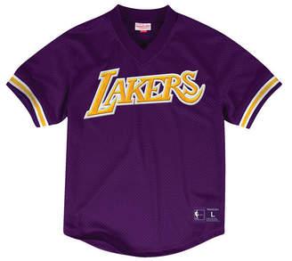 Mitchell & Ness Men's Los Angeles Lakers Wordmark Mesh V-Neck Jersey