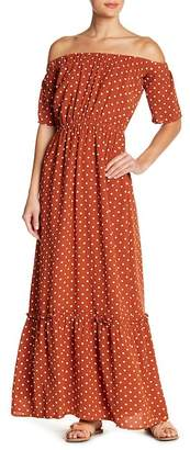 Lucca Couture Off-the-Shoulder Polkadot Maxi Dress