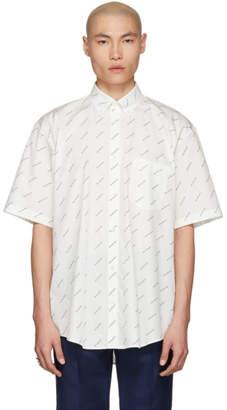 Balenciaga White and Black Logo Normal Fit Shirt