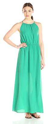 Lark & Ro Women's Blouson Gathered Neck Maxi Dress