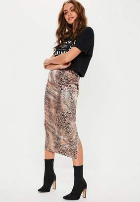 Missguided Pink Leopard Print Satin Slip Skirt