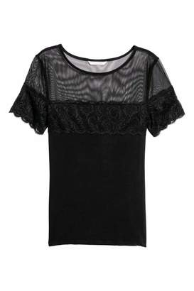 H&M Top with Lace - Black - Women