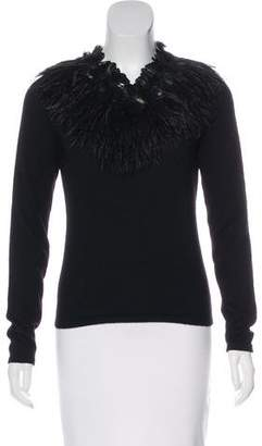 Naeem Khan Feather-Accented Cashmere Sweater