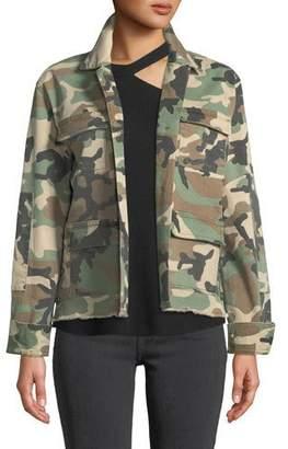 RtA Luna Raw-Edge Camo-Print Jacket