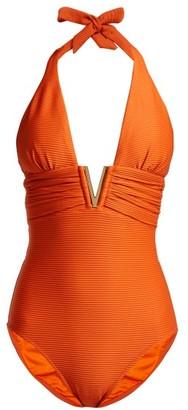 Heidi Klein Casablanca V Bar Ribbed Swimsuit - Womens - Orange