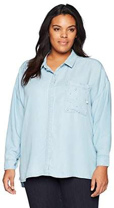 Democracy Women's Plus-Size Drop Shoulder Button Down with Pearls