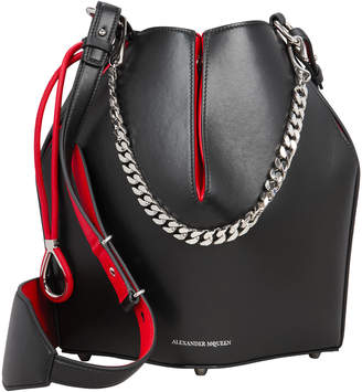 Alexander McQueen Black Leather Bucket Bag