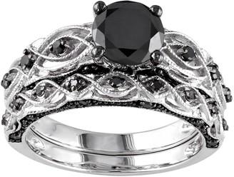 Black Diamond Stella Grace 10k White Gold 1 3/8 Carat T.W. Swirl Engagement Ring Set