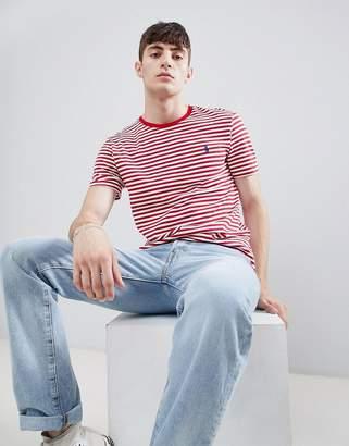 Polo Ralph Lauren Player Logo Stripe T-Shirt In Red/White