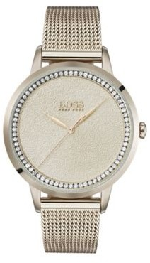BOSS Carnation-gold-plated watch with textured dial