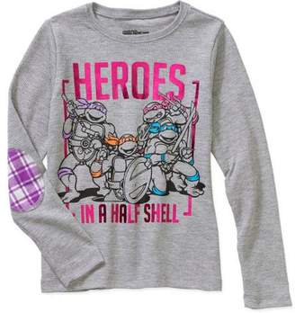 Teenage Mutant Ninja Turtles Heroes In A Half Shell Little Girls' Long Sleeve Thermal With Elbow Patch