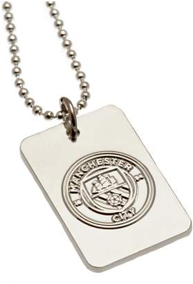 Manchester City Silver Plated Dog Tag & Ball Chain.